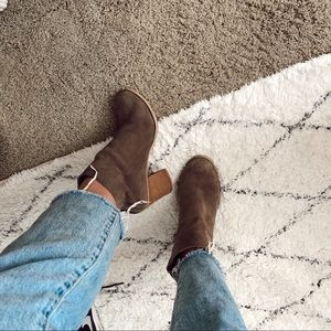 Urban Outfitters wood block suede ankle booties